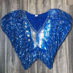 Vintage Butterfly Sequins Top Blue Glitter Boho